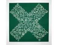 X-CHROMOSOM, 2010 Atomic Green Acryl auf Leinwand, 100 x 100 cm Zusammen mit dem Y-CHROMOSOM im Angebot für 950 statt 1100 Euro!